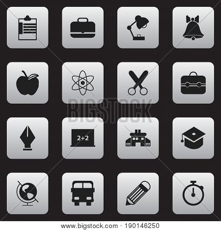 Set Of 16 Editable Knowledge Icons. Includes Symbols Such As Supervision List, Eraser, Portfolio And More. Can Be Used For Web, Mobile, UI And Infographic Design.