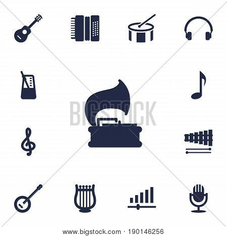 Set Of 13 Song Icons Set.Collection Of Turntable, Rhythm Motion, Karaoke And Other Elements.
