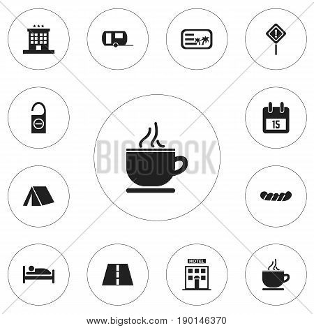 Set Of 12 Editable Holiday Icons. Includes Symbols Such As Caution, Luxury Inn, Hotel And More. Can Be Used For Web, Mobile, UI And Infographic Design.