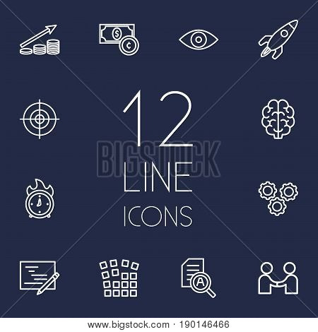 Set Of 12 Strategy Outline Icons Set.Collection Of Profit, Partnership, Eye And Other Elements.