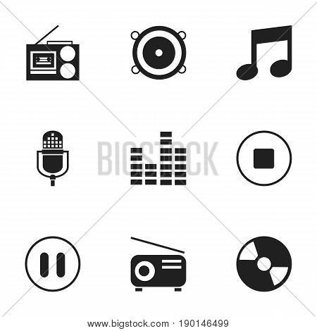 Set Of 9 Editable Sound Icons. Includes Symbols Such As Stop, Microphone, Cassette Player And More. Can Be Used For Web, Mobile, UI And Infographic Design.