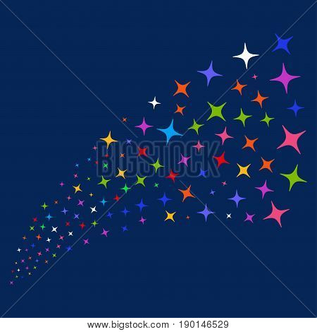 Source of space star icons. Vector illustration style is flat bright multicolored space star iconic symbols on a blue background. Object source done from scattered symbols.
