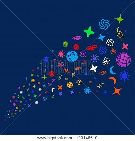 Source stream of space symbols. Vector illustration style is flat bright multicolored space symbols iconic symbols on a blue background. Object stream created from random symbols.