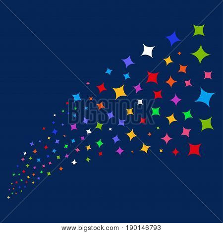 Source stream of sparcle star icons. Vector illustration style is flat bright multicolored sparcle star iconic symbols on a blue background. Object fountain created from random symbols.