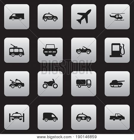Set Of 16 Editable Shipment Icons. Includes Symbols Such As Travel Pickup, Cab, Helicopter And More. Can Be Used For Web, Mobile, UI And Infographic Design.
