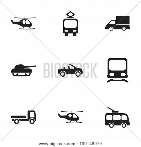 Set Of 9 Editable Shipment Icons. Includes Symbols Such As Wagon, Carriage, Weapon And More. Can Be Used For Web, Mobile, UI And Infographic Design.