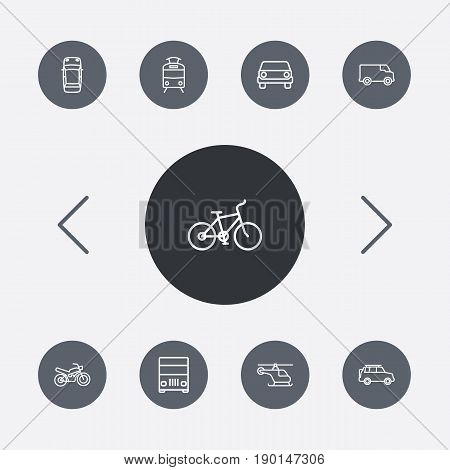 Set Of 9 Traffic Outline Icons Set.Collection Of Lorry, Van, Top And Other Elements.