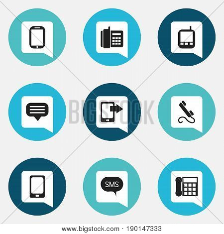 Set Of 9 Editable Phone Icons. Includes Symbols Such As Transceiver, Calling Device, Home Cellphone And More. Can Be Used For Web, Mobile, UI And Infographic Design.