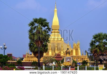 VIENTIANE LAOS 03 29 13:  That Luang  'Great Stupa' is a gold-covered large Buddhist stupa the stupa is generally regarded as the most important national monument in Laos and a national symbol