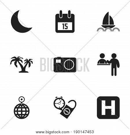 Set Of 9 Editable Trip Icons. Includes Symbols Such As Yacht, Point, Date Block And More. Can Be Used For Web, Mobile, UI And Infographic Design.