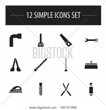 Set Of 12 Editable Tools Icons. Includes Symbols Such As Bore, Appliance, Wheel Wrench And More. Can Be Used For Web, Mobile, UI And Infographic Design.