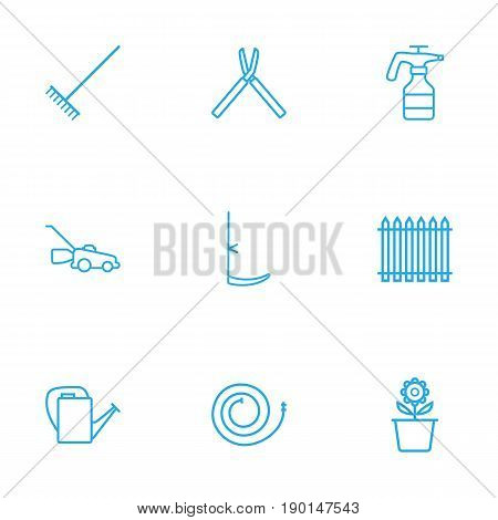 Set Of 9 Household Outline Icons Set.Collection Of Firehose, Grass-Cutter, Shears And Other Elements.
