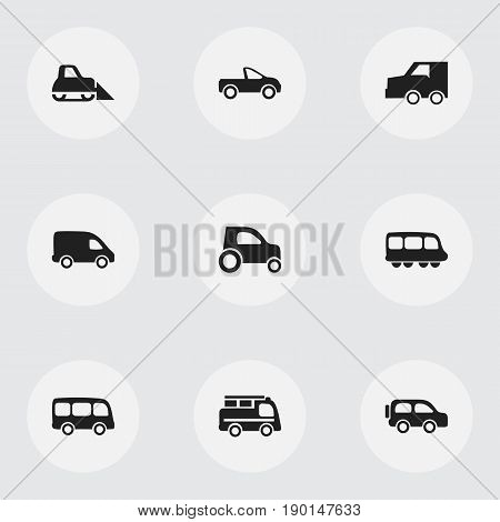 Set Of 9 Editable Shipment Icons. Includes Symbols Such As Suv, Drophead Coupe, Tour Bus And More. Can Be Used For Web, Mobile, UI And Infographic Design.