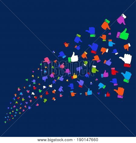 Source stream of thumb up icons. Vector illustration style is flat bright multicolored thumb up iconic symbols on a blue background. Object stream organized from random design elements.