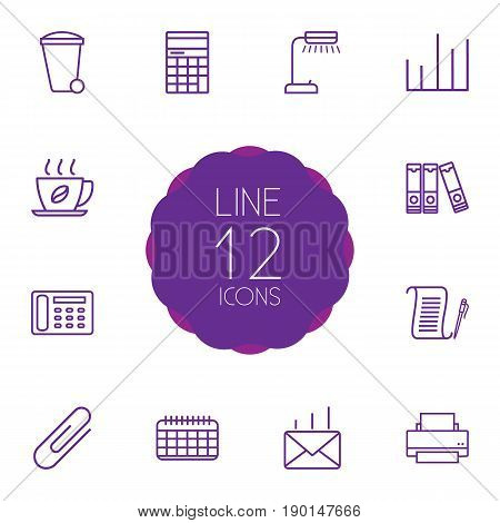 Set Of 12 Work Outline Icons Set.Collection Of Recycle Bin, Post, Date And Other Elements.