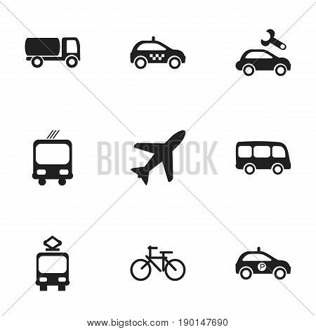 Set Of 9 Editable Shipment Icons. Includes Symbols Such As Tanker, Transportation, Cab And More. Can Be Used For Web, Mobile, UI And Infographic Design.