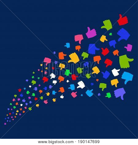 Fountain of thumb up icons. Vector illustration style is flat bright multicolored thumb up iconic symbols on a blue background. Object fountain done from random pictographs.