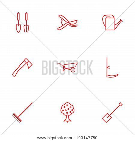 Set Of 9 Farm Outline Icons Set.Collection Of Bailer, Harrow, Instruments And Other Elements.
