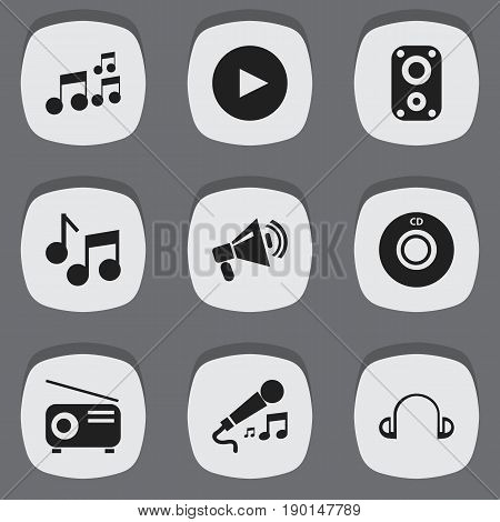 Set Of 9 Editable Audio Icons. Includes Symbols Such As Sound Amplifier, Earpiece, Tone And More. Can Be Used For Web, Mobile, UI And Infographic Design.