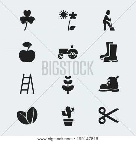 Set Of 12 Editable Planting Icons. Includes Symbols Such As Agrimotor, Leaves, Stairway And More. Can Be Used For Web, Mobile, UI And Infographic Design.