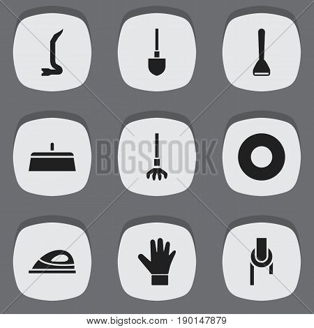 Set Of 9 Editable Apparatus Icons. Includes Symbols Such As Spacer, Putty Knife, Potato Peeler And More. Can Be Used For Web, Mobile, UI And Infographic Design.