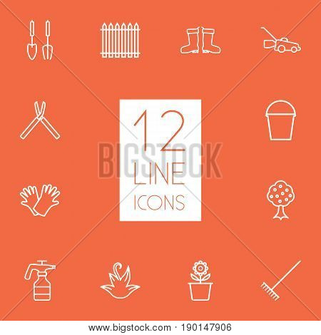 Set Of 12 Household Outline Icons Set.Collection Of Safer Of Hand , Atomizer, Grass-Cutter Elements.