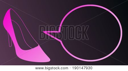Pink shoe with an empty pop. Stiletto with a speech bubble. Illustration of a woman high heel. Pump cartoon. Talking shoe