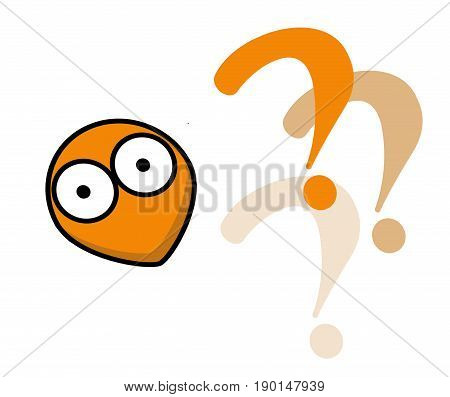 What?. Question time. Confused. Interrogation. Question mark. White background. Cartoon