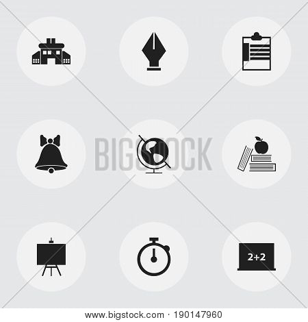 Set Of 9 Editable Education Icons. Includes Symbols Such As Timer, Jingle, Nib And More. Can Be Used For Web, Mobile, UI And Infographic Design.