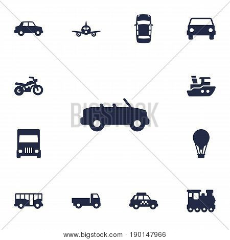 Set Of 13 Transport Icons Set.Collection Of Taxicab, Panorama, Airship And Other Elements.