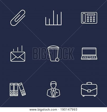 Set Of 9 Cabinet Outline Icons Set.Collection Of Fastener Paper, Contacts, Document Case And Other Elements.