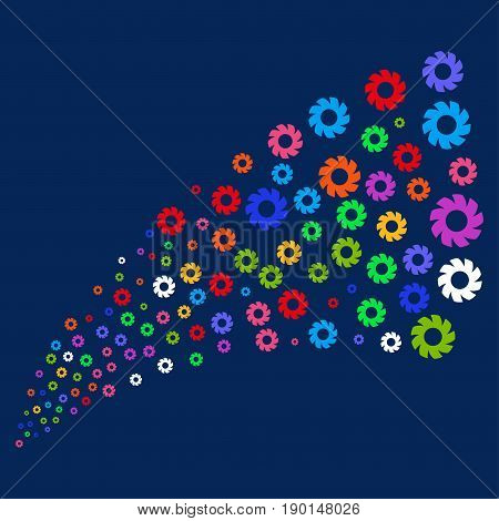 Source stream of turbine symbols. Vector illustration style is flat bright multicolored turbine iconic symbols on a blue background. Object fountain made from scattered icons.