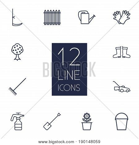 Set Of 12 Farm Outline Icons Set.Collection Of Plant Pot, Waterproof Shoes, Bailer And Other Elements.