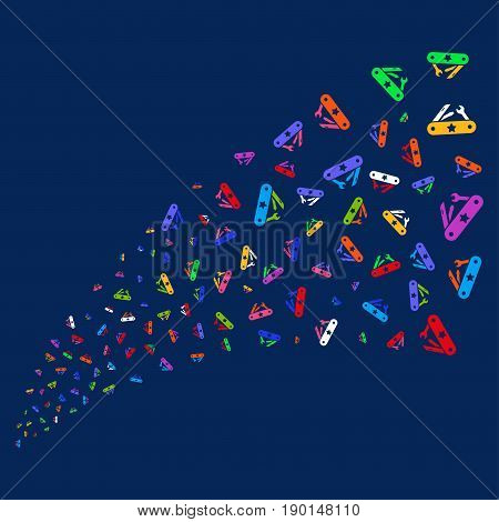 Fountain of universal army knife icons. Vector illustration style is flat bright multicolored universal army knife iconic symbols on a blue background.