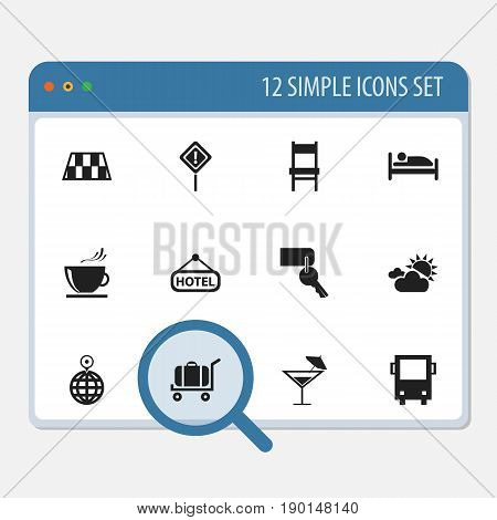 Set Of 12 Editable Holiday Icons. Includes Symbols Such As Cart, Entrance, Cloudy Day And More. Can Be Used For Web, Mobile, UI And Infographic Design.