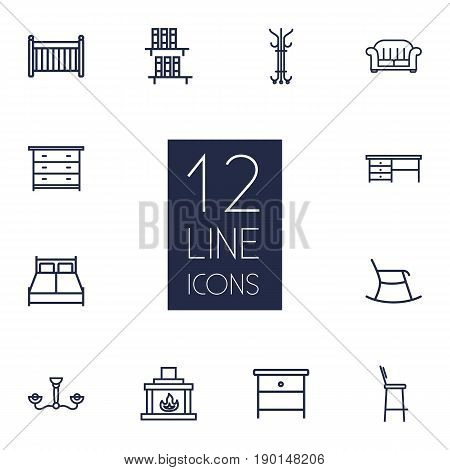 Set Of 12 Set Outline Icons Set.Collection Of Nightstand, Hanger, Desk Elements.