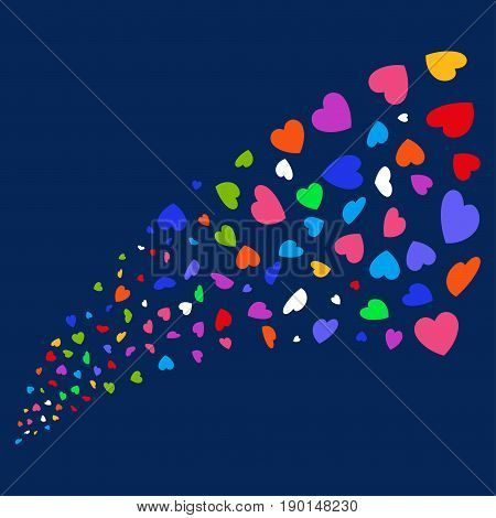 Fountain of valentine petals icons. Vector illustration style is flat bright multicolored valentine petals iconic symbols on a blue background. Object stream created from scattered icons.