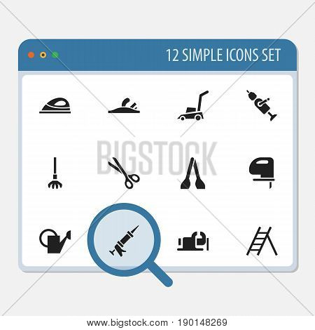 Set Of 12 Editable Tools Icons. Includes Symbols Such As Appliance, Staircase, Bailer And More. Can Be Used For Web, Mobile, UI And Infographic Design.
