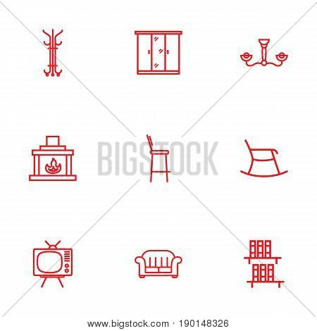 Set Of 9 Set Outline Icons Set.Collection Of Bookshelf, Tv Set, Closet And Other Elements.
