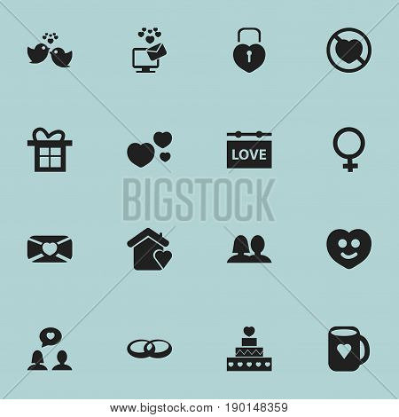 Set Of 16 Editable Amour Icons. Includes Symbols Such As Locked Heart, Banner, Happy And More. Can Be Used For Web, Mobile, UI And Infographic Design.