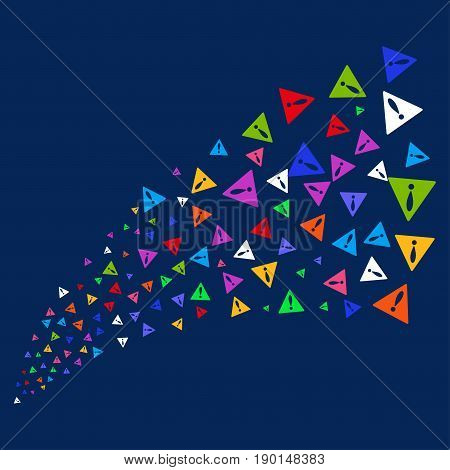 Fountain of warning symbols. Vector illustration style is flat bright multicolored warning iconic symbols on a blue background. Object fountain done from confetti pictographs.