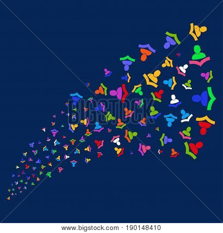 Fountain of warning icons. Vector illustration style is flat bright multicolored warning iconic symbols on a blue background. Object stream made from random pictograms.