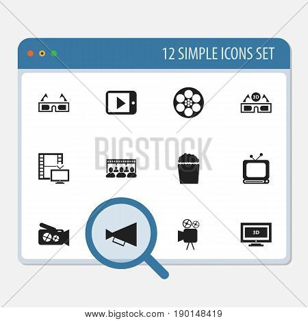 Set Of 12 Editable Filming Icons. Includes Symbols Such As Announcement, Television, Camcorder And More. Can Be Used For Web, Mobile, UI And Infographic Design.