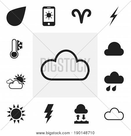 Set Of 12 Editable Air Icons. Includes Symbols Such As Bolt, Drip, Deluge And More. Can Be Used For Web, Mobile, UI And Infographic Design.