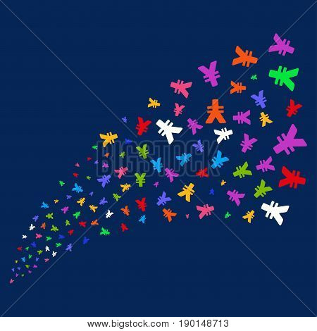 Source of yen symbols. Vector illustration style is flat bright multicolored yen iconic symbols on a blue background. Object source organized from confetti icons.