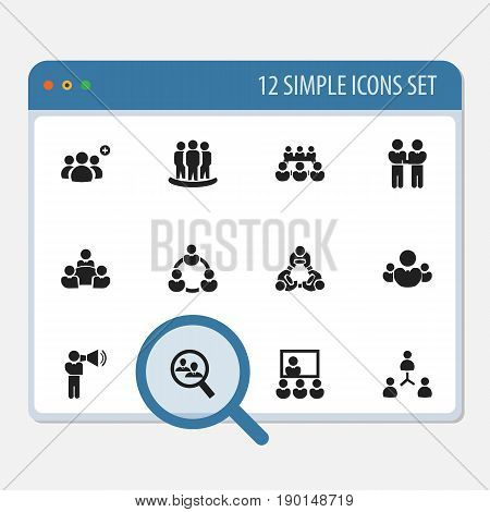 Set Of 12 Editable Cooperation Icons. Includes Symbols Such As Agreement, Debate, Cooperation And More. Can Be Used For Web, Mobile, UI And Infographic Design.