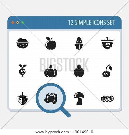 Set Of 12 Editable Cookware Icons. Includes Symbols Such As Cabbage, Cep, Pecan And More. Can Be Used For Web, Mobile, UI And Infographic Design.