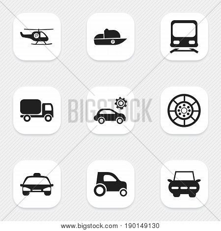 Set Of 9 Editable Shipment Icons. Includes Symbols Such As Taxi, Part Of Car, Helicopter And More. Can Be Used For Web, Mobile, UI And Infographic Design.