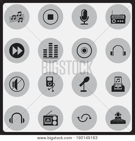 Set Of 16 Editable Melody Icons. Includes Symbols Such As Media Device, Headphones, Musical Gadget And More. Can Be Used For Web, Mobile, UI And Infographic Design.