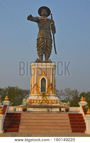 Statue of the King Chao Anouvong, (1767 to 1829), led the Laotian Rebellion (1826 to 1829) as the last monarch of the Lao Kingdom of Vientiane